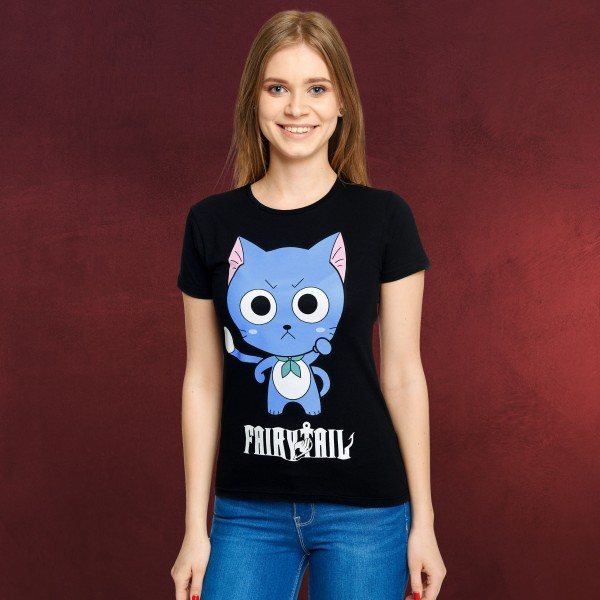 Fairy Tail - Happy T-Shirt Damen schwarz