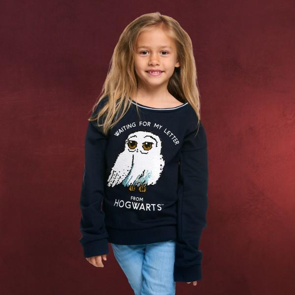 Harry Potter - Hedwig Kinder Sweater mit Wende-Pailletten blau