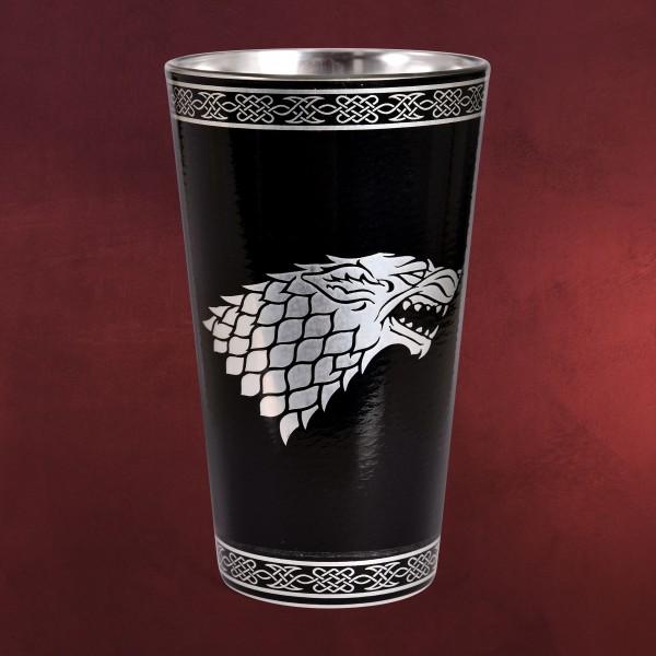Game of Thrones - House Stark Wappen Glas schwarz-silber