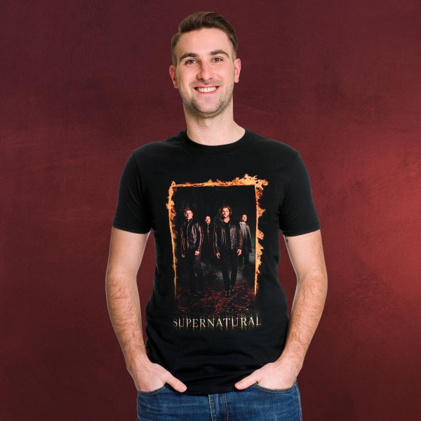 Supernatural - Burning Gate Poster T-Shirt schwarz