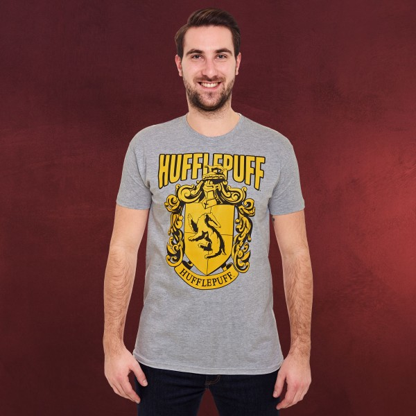 Harry Potter - Hufflepuff Wappen T-Shirt grau