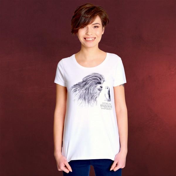 Star Wars - Porg und Chewie T-Shirt Damen weiß