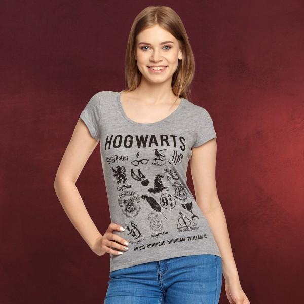 Harry Potter - Hogwarts Symbols T-Shirt Damen grau