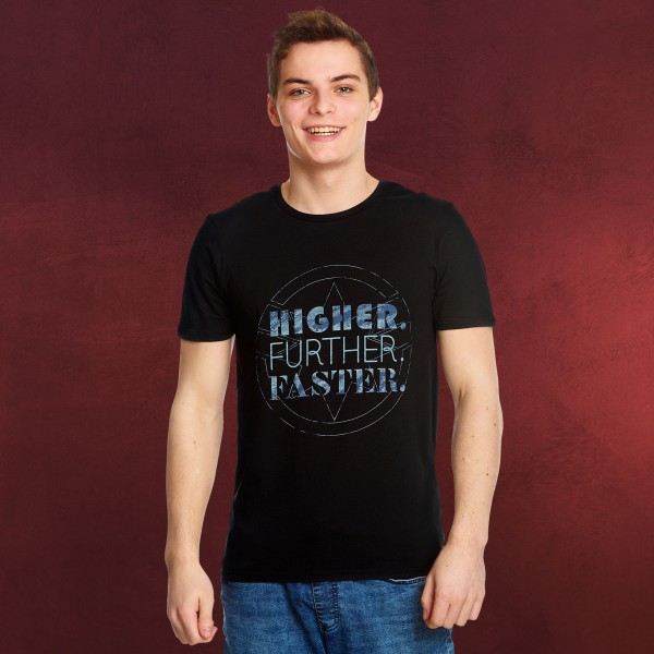 Captain Marvel - Higher Further Faster T-Shirt schwarz