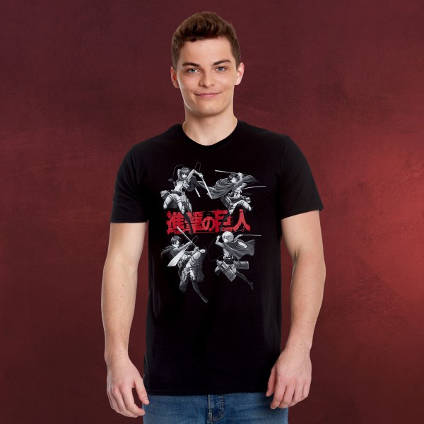 Attack on Titan - Characters T-Shirt schwarz