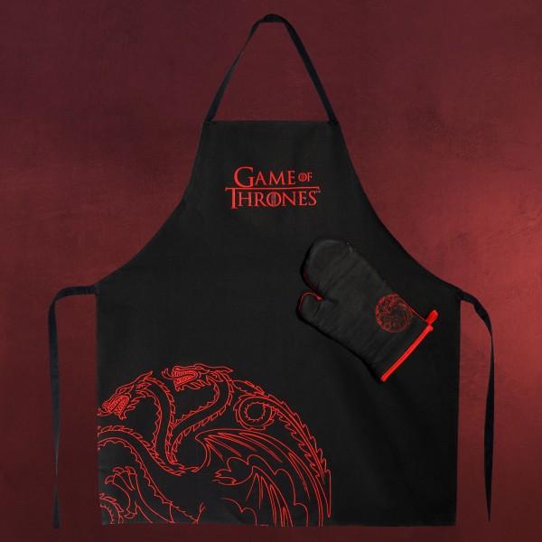 Game of Thrones - Targaryen Schürze mit Ofenhandschuh