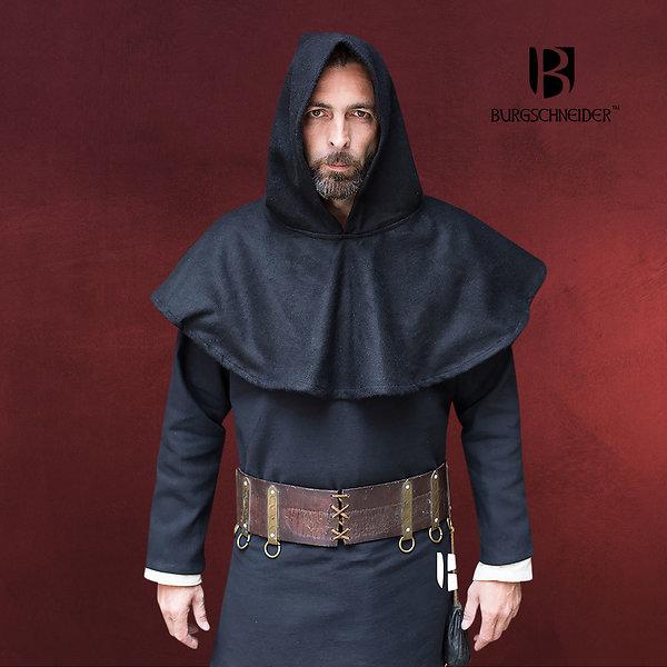 Mittelalter Woll-Gugel Cucullus schwarz