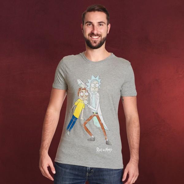 Rick and Morty - Morty Eye Edit Distressed T-Shirt grau