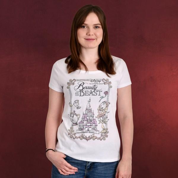 Die Schöne und das Biest - Movie Portrait T-Shirt Damen weiß