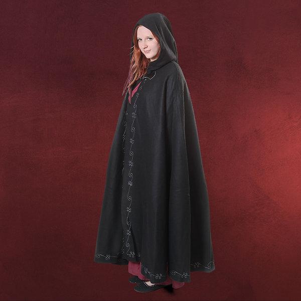 Mittelalter Woll Umhang Damen mit Kapuze Stickerei Metallschließe schwarz