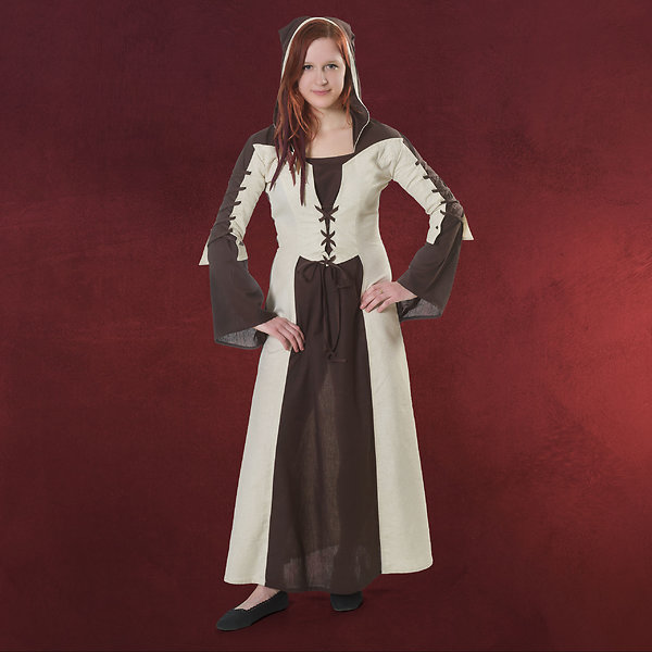Mittelalter Kleid Salomea mit Kapuze natur braun