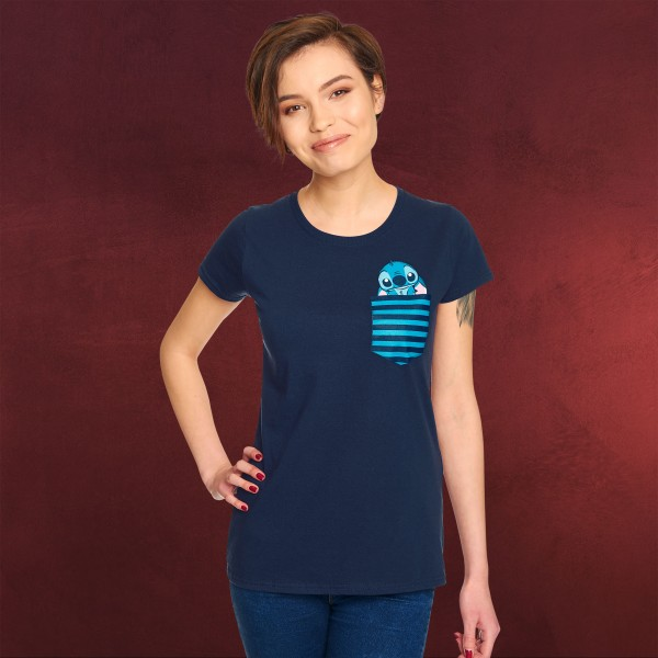 Lilo & Stitch - Pocket Stitch T-Shirt Damen blau